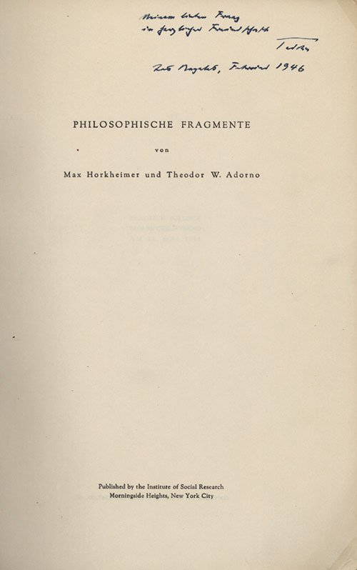 dialectic of enlightenment by max horkheimer and Dialectic of enlightenment is, quite justifiably, one of the most celebrated and often cited works of modern social philosophy it has been identified as the keystone of the 'frankfurt school', of which theodor adorno and max horkheimer were the leading members, and does not cease to impress in its wide-ranging ambition and panache.